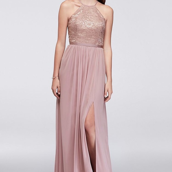 David S Bridal Bridesmaid Dress Rose Gold Metallic Nwt